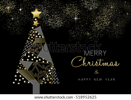 Merry Christmas and New Year gold pine tree greeting card design with holiday ornament decoration.