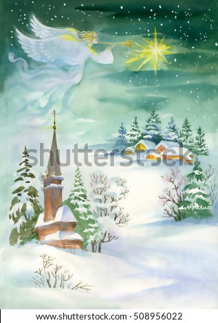 Merry Christmas and New Year Greeting Card with Beautiful Angel with Wings, Watercolor Illustration