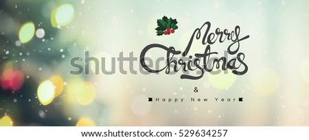 Merry Christmas ans Happy New Year text on bokeh background with snowfall effect, panoramic banner #529634257