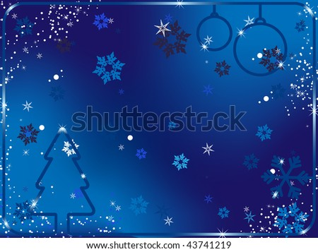Merry Christmas Background with snowflakes and stars.