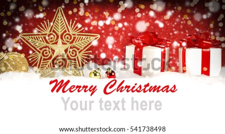 Merry Christmas banner, star, gifts, ornament on snow #541738498