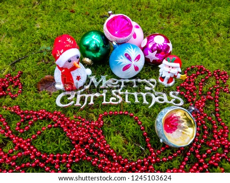 Merry Christmas baubles. Christmas balls with Christmas baubles. Christmas decor #1245103624
