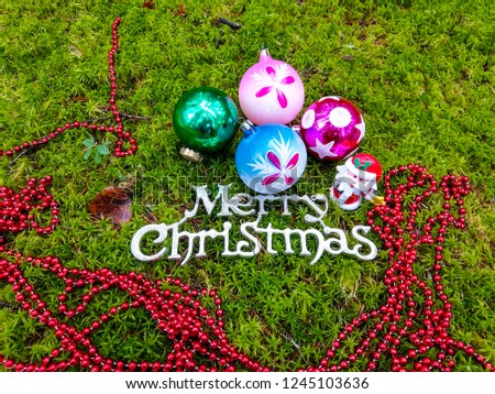 Merry Christmas baubles. Christmas baubles on Christmas forest moss. Christmas decor #1245103636