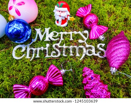Merry Christmas baubles. Merry Christmas decor. Christmas baubles in Christmas forest #1245103639