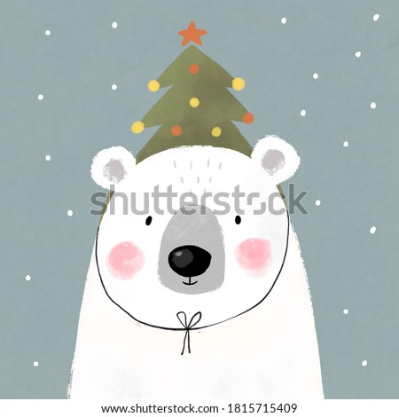 Merry Christmas Bear with wearing a hat christmas tree. Scandinavian prints for kids Stockfoto ©