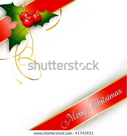 Merry Christmas card isolated over a white background