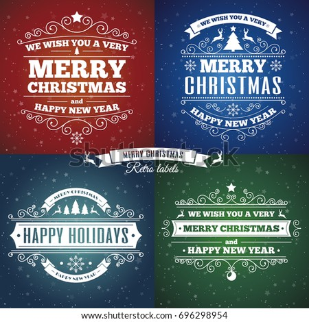 Merry christmas card set with vintage labels on star background.