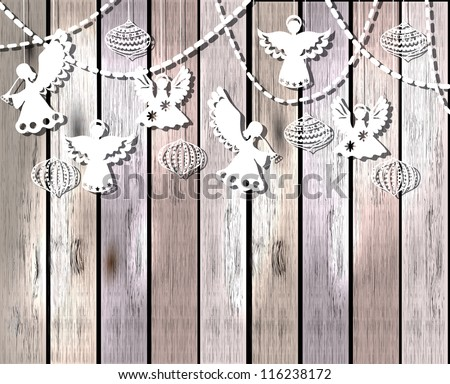 Merry Christmas  card with Angels and decorations in paper cut style