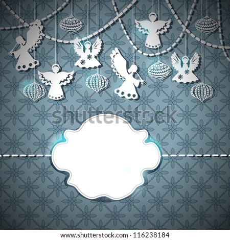 Merry Christmas  card with Angels and decorations in paper cut style with place for text - stock photo