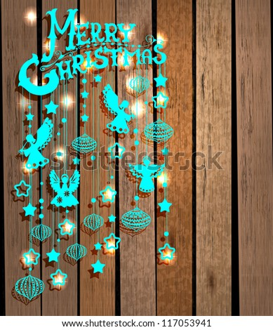Merry Christmas card with Angels over wood background