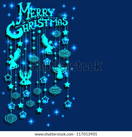 Merry Christmas  card with Angels, paper cut or origami style