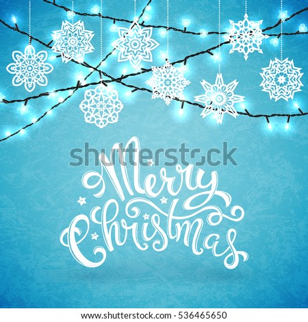 Merry christmas card with snowflakes, illustration