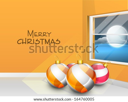 Merry Christmas celebration flyer, banner or poster with glossy Christmas balls in a room and view of night from window.