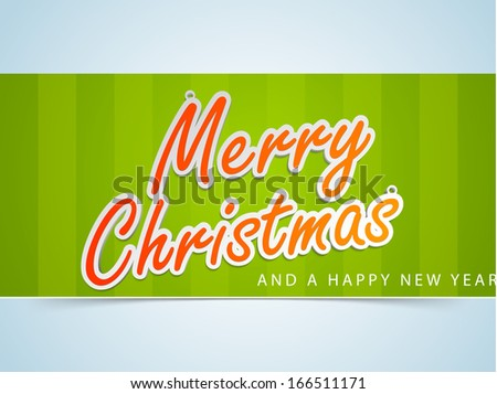 Merry Christmas celebration flyer, banner, poster or invitation with stylish text on green and blue background.