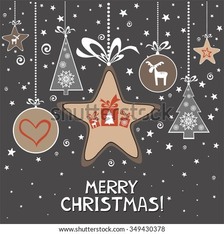 Merry Christmas. Christmas Greeting Card. Celebration Vintage background with Christmas tree, Christmas star, Christmas ball and place for your text.  Illustration