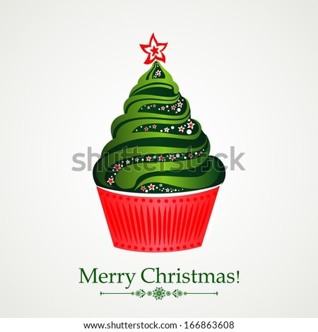 Merry Christmas! Christmas tree cupcake Celebration background with Christmas cupcake and place for your text.  Illustration