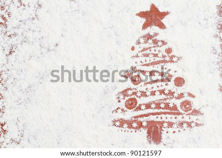 Merry Christmas - Christmas tree of the flour (homemade  baking) - space for text