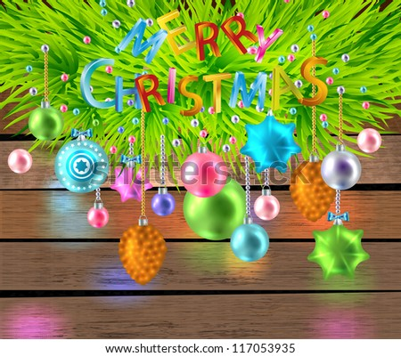 Merry Christmas  color card with toys and firtree