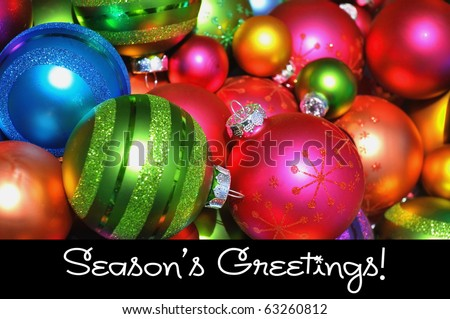 Merry Christmas concept. Pretty colorful Christmas Ornaments.