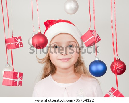 Merry Christmas - cute girl with Christmas decoration