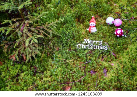 Merry Christmas forest baubles. Christmas baubles in Christmas forest. Christmas baubles in forest #1245103609