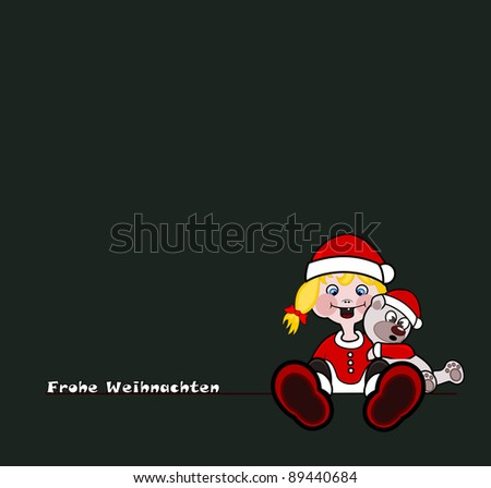 Merry Christmas - Girl with teddy Stock foto ©