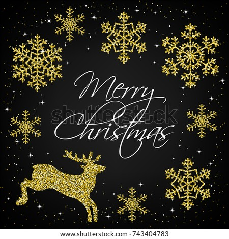 Merry Christmas. Golden snowflakes and deer on black background