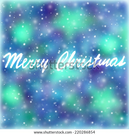 Merry Christmas greeting card, abstract festive background, blue blur bokeh backdrop with text space, postcard with best wishes