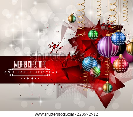 Merry Christmas Greeting Card for happy Holidays and new year flyers.