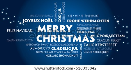 merry christmas greeting card in different languages
