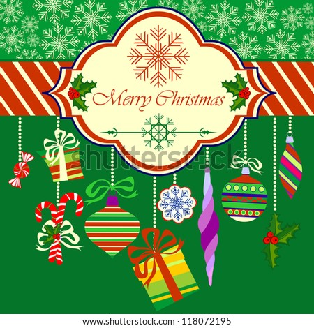 Merry Christmas Greeting Card with Christmas Objects on Green Background, Raster Illustration