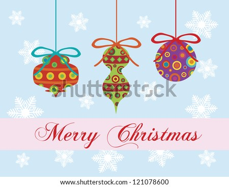 Merry Christmas Greeting Card with Colorful Ornaments and Snowflakes Background Illustration Raster