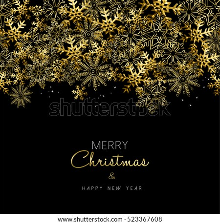 Merry Christmas greeting design with gold snowflake decoration for holiday season.