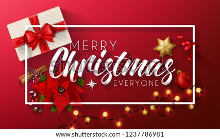Merry Christmas greeting with red background  #1237786981