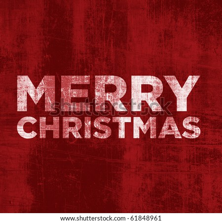Merry Christmas - Grunge Red Background