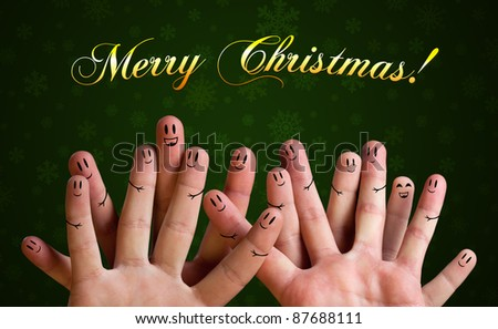 Merry christmas happy finger group with smiley faces