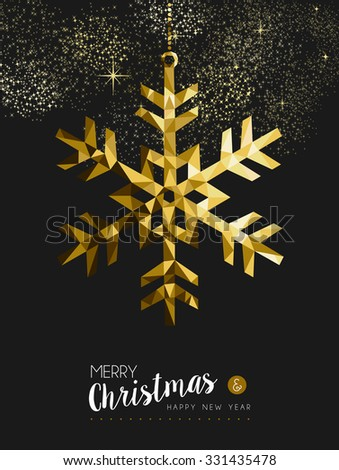 Merry christmas happy new year fancy gold winter snowflake shape in hipster origami style. Ideal for xmas card or elegant holiday party invitation.