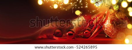 Merry Christmas; Holidays background with Xmas tree decoration on red background and copy space for your text #524265895