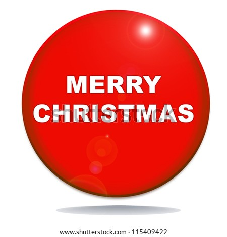 merry christmas icon on red glossy button graphic