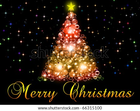 Merry Christmas illustration on the black background