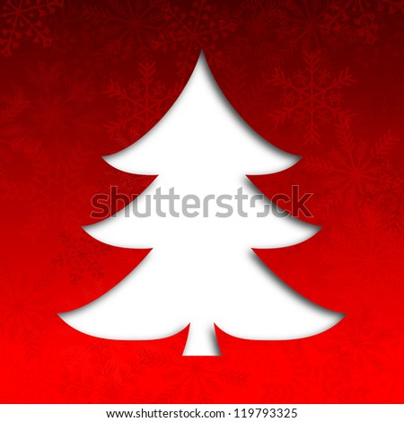 merry christmas illustration with christmas tree and snowflakes