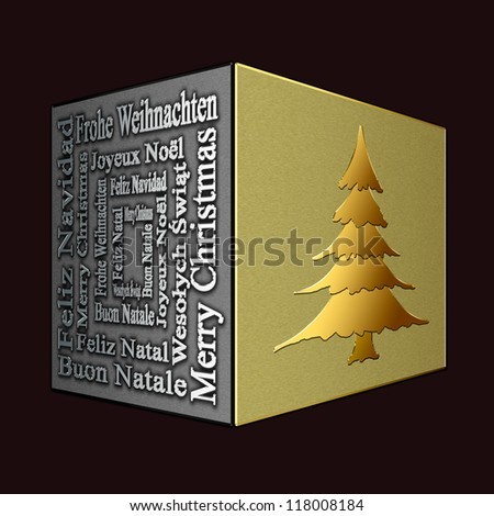 Merry Christmas in several languages and Christmas tree