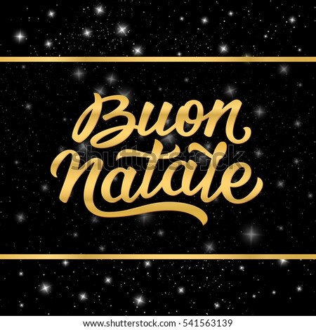 Merry Christmas italian calligraphic text in golden frame on black starry background. Illustration for Xmas with season greetings.
