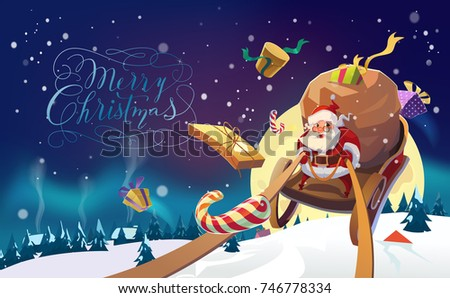 Merry Christmas Lettering. Santa Claus in a sleigh with presents in a hurry for the holiday. Christmas greeting card poster.