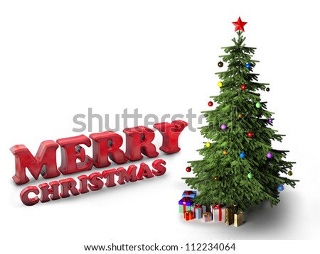 Merry christmas letters with christmas tree and gifts