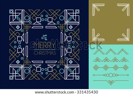 Merry christmas mono line set of frames and lettering elements in abstract art deco style. Ideal for making your own xmas greeting card.