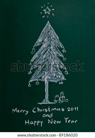 Merry Christmas  on chalkboard