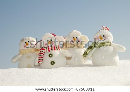 Merry Christmas - Outdoor portrait of snowman friends