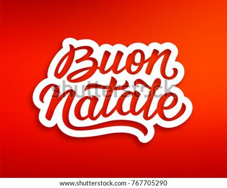 Merry christmas season greetings with lettering text in italian on merry christmas season greetings with lettering text in italian on red background xmas paper cut m4hsunfo