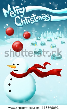 Merry Christmas snowman with a red scarf  Vintage Christmas snow background